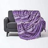 Homescapes Tagesdecke Morocco, lila, Sofa-Überwurf aus 100prozent Baumwolle, weiche Wohndecke 150 x 200 cm, violett gestreift, mit Fransen