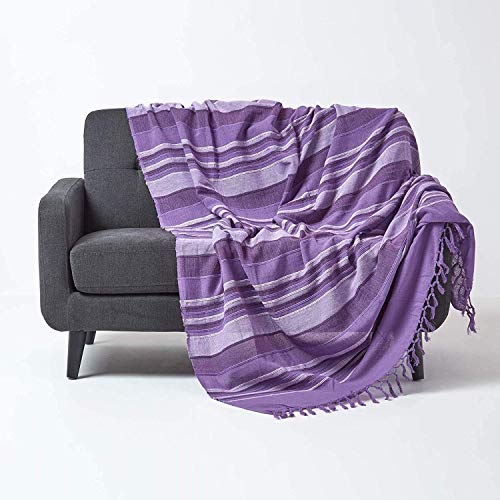 Homescapes Tagesdecke Morocco, lila, Sofa-Überwurf aus 100% Baumwolle, weiche Wohndecke 150 x 200 cm, violett gestreift, mit Fransen