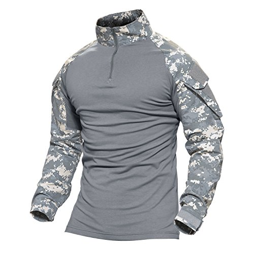 MAGCOMSEN Tactical Military Shirts Long and Short Sleeve Slim Fit Camo Shirt with Zipper