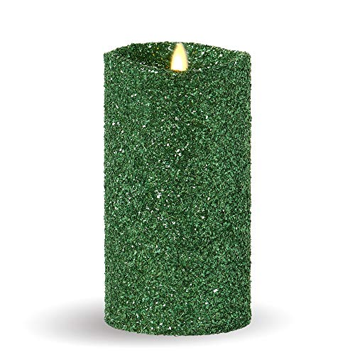 Luminara Flameless Pillar Candle (Green Glitter, 7-Inch Tall); Battery-Operated LED Candle with Remote, Great for Christmas and Holidays