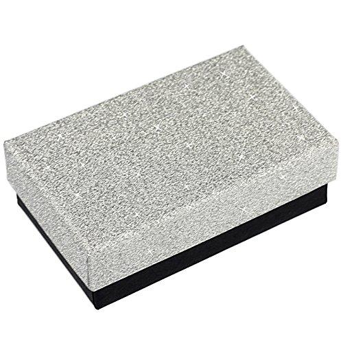EYS JEWELRY Glitzer Schmuck-Etui für Kette mit Anhänger 50 x 80 x 26 mm Kartonage silber-farben Halskette-Box Schachtel Schatulle Geschenk-Verpackung