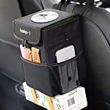 Farielyn-X Car Trash Garbage Bag Can - Car Trash Can with Lid and Storage Pockets Leak-Proof Vinyl