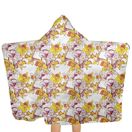 ZHSL Serviette de plage à capuchon pour enfants Jonquille, fleurs printemps Romance serviette à capuche pour bébé gant de toilette super absorbant et hypoallergénique 51,5 x 31,8 pouces