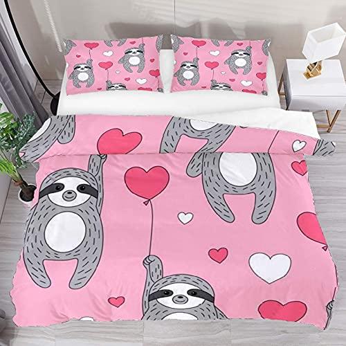 ATZTD Juego de ropa de cama transpirable, lindos perezosos globos corazones 3 piezas funda de edredón (1 funda de edredón + 2 fundas de almohada) decoración de la habitación microfibra ultra suave