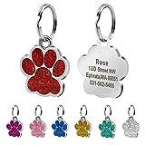 Beirui Placas de identificación Huellas Personalizadas en Acero Inoxidable de 24 mm para Perros y Gatos, con Grabado láser, Rojo, S (0.9' diámetro)