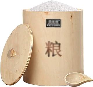 Pots et bocaux de conservation Seau à riz en bois massif Cylindre de riz étanche à l'humidité domestique Boîte de rangemen...
