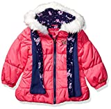 LONDON FOG Girls' Little Quilted Puffer Jacket with Scarf, Poppy Shock, 6X