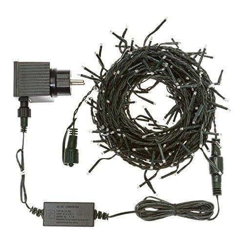 Lotti 20085 SLG-PH Guirlande lumineuse prolongeable, avec 180 mini LEDs de 3 mm, flash LED Diamond de 24 V, câble vert de 12,6 m, lumière blanche chaude – Convient pour usage extérieur