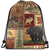 Arvolas Bolsas con cordón de Gimnasio Rústico Lodge Bear M