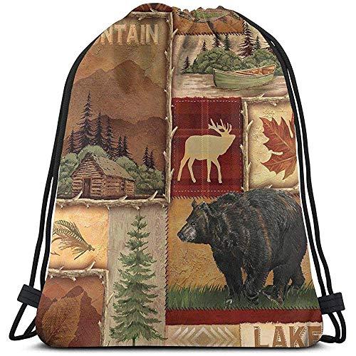 Arvolas Bolsas con cordón de Gimnasio Rústico Lodge Bear Moose Deer String Pull Bag String Mochila Durable...