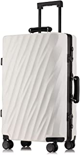 SMLCTY Trolley Case,carry On Luggage,carryon Luggage With Spinner Wheels, Aluminum Frame Pull Rod Box,20 Inches, 24 Inches, 26 Inches (Color : White, Size : 26 inches)