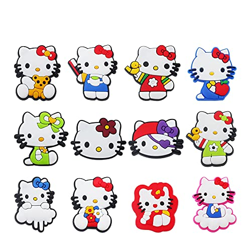 12 PCS Hello Kitty Different Shoe Charms, PVC Pins Decoration for Croc...