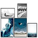 decomonkey   Poster 5er – Set schwarz-weiß Abstrakt