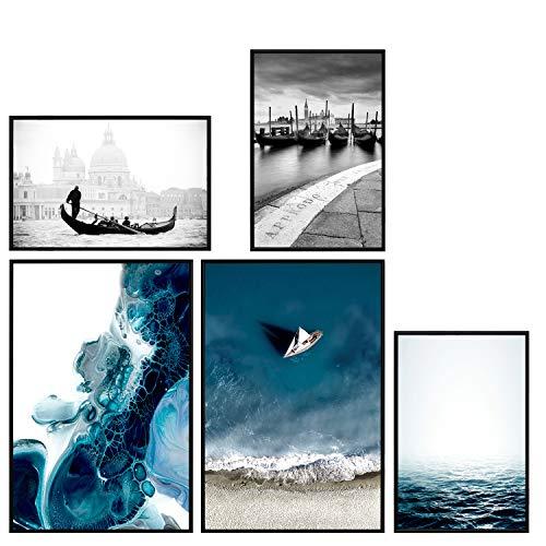 decomonkey   Poster 5er – Set mit schwarzem Rahmen schwarz-weiß Abstrakt Kunstdruck Wandbild Print Bilder Bilderrahmen Kunstposter Wandposter Posterset Strand Meer Stadt Vending Stein Blau
