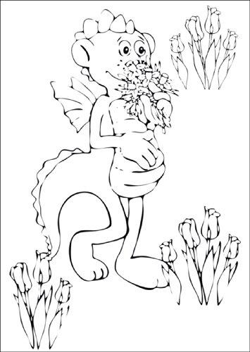 Af knutselkaart voor kinderen met kleine draak dinolino in Tulpenfeld • ook voor direct verzenden met uw persoonlijke tekst als inlegger. • Hoogwaardige 1a wenskaart met envelop voor lieve groeten