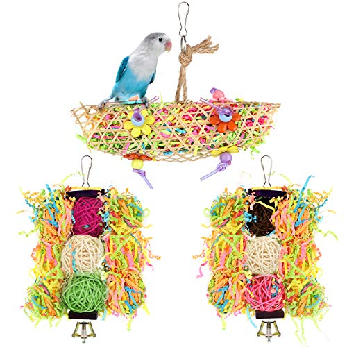 Pawaboo[3PzsJuguetedePájarosconBolasdeRatá,JugueteMasticadordeJauladeMaderaNatural ColganteColumpio,DecoracióndePajareraparaPeriquitosLorosPicoMolido,Multicolor