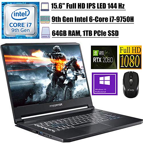 2020 Newest Acer Predator Triton 500 Gaming Laptop 15.6' FHD IPS 144 Hz Intel 6-Core i7-9750H 64GB DDR4 1TB PCIe SSD 6G RTX 2060 RGB Backlit KB Thunderbolt 3 Win 10 Pro + iCarp Wireless Mouse
