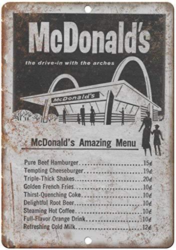 """metal tin sign 2 Pcs Vintage McDonald's Original Menu 12"""" x 8"""" Reproduction"""