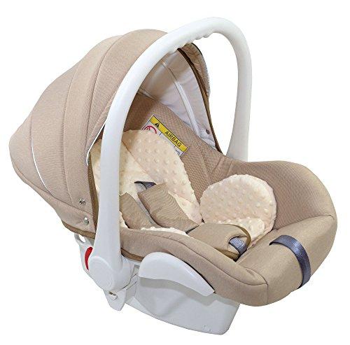 Clamaro Babyschale Auto 'JUNO white' ultraleicht 2,95 kg mit Anti-Shock Schaumstoff, Gruppe 0+ (0-13 kg) ECE-R 44/04 - Baby Autositz inkl. Sonnenverdeck und Fußabdeckung - Beige Leinen