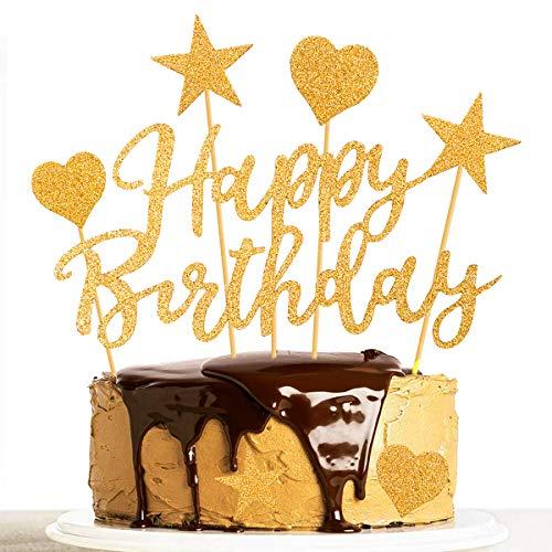 Humairc Tortendeko Rosegold 2 Pack Geburstagstorte Deko Happy Birthday Girlande Herze Sternen Cake-Topper Kuchen Aufsätze für Mädchen Frauen (Gold)