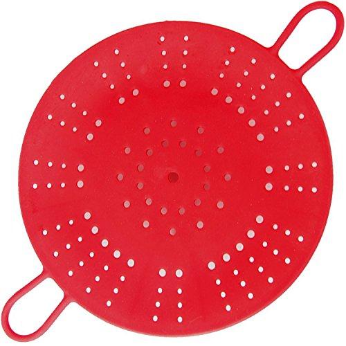 Vegetable Steamer,Silicone Steamer Basket with Handle Bars for Healthy Cooking Fruits, Basket Pressure Cook Heat- Resistant Microwaveable, Dishwasher Safe (Red)