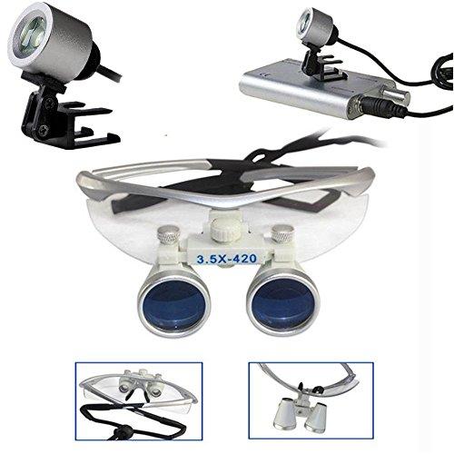 BoNew-Oral 3.5X420mm Dental Kopflupe Magnifier Binokularlupen Lupenbrille LED Headlight