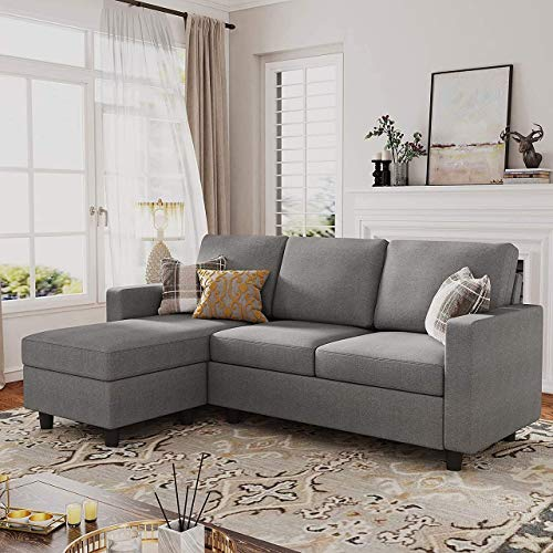Belffin Corner Sofa 3 Seater Grey L Shaped Sofa Couch with Reversible Chaise