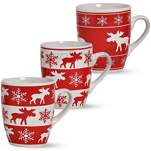 matches21 Tassen Becher 3-tlg. Set Kaffeetassen Elchdekor 10 cm / 300 ml rot/weiß Keramik