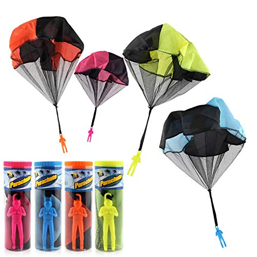 Zubita Parachute Toy, Tangle Free Throwing Toy Parachute 4 Pieces Children's Outdoor Flying Toys Hand Throw Parachute Army Man for Kids Toss Up and Watching Landing