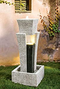 Zen Line Designs ZL-197012 40 Inch Tall 1-Tier Modern Water Fountain with LED-Indoor/Outdoor Water Fountain for Yard, Garden, Deck, Patio, Porch-Backyard Decor