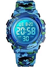 Orologio digitale per bambini, orologi sportivi impermeabile con sveglia/cronometro/12-24H, elettronico orologio da polso per bambino per ragazzi adolescenti con LED