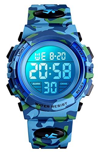 Digitaluhr für Jungen, wasserdichte Sport Uhr Kinder Uhren mit Wecker/Stoppuhr/12-24H, Elektronische Kinderuhren LED Armbanduhr für Junior Teenager (Blue)