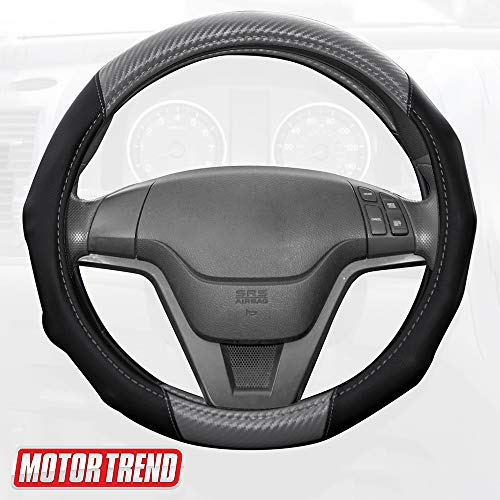 Motor Trend GripDrive Carbon Fiber Steering Wheel Cover – Universal Fit with Microfiber Leather for Steering Wheel Sizes 14.5 15 15.5 inches (Gray)