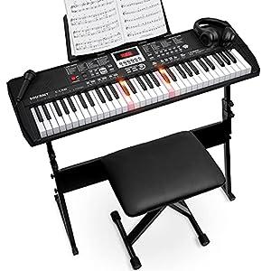 Souidmy C-L100 Piano con Teclado para Principiantes, Teclado de 61 Teclas con Iluminación, Este kit de Teclado Portátil incluye Soporte para Teclado, Asiento, Atril, Auriculares, Micrófono y pegatina