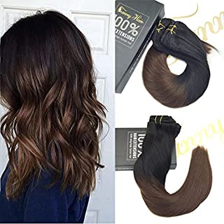 Sunny Human Hair Extensions Clip in Ombre Black to Dark Brown Clip in Hair Extensions Remy Human Hair Double Weft Hair Extensions 9 Pieces 140g 24inch
