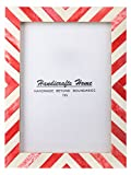 Handicrafts Home 5x7 Picture Photo Frame Chevron Herringbone Art Inspired Vintage Wall Décor Gift Frames [5x7 RED]