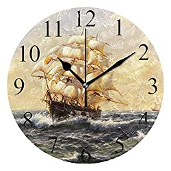 Wamika Round Wall Clock Vintage Pirate Ship Sailing Sea Ocean Clocks Silent Non Ticking Wall Decorative, Boat Nautical Theme Clocks 10 Inch Battery Operated Quartz Quiet Desk Clock for Home Decor