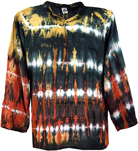 Guru-Shop, Batik Shirt, Hippie Boho Shirt, Festival Shirt, Synthetisch, Shirts