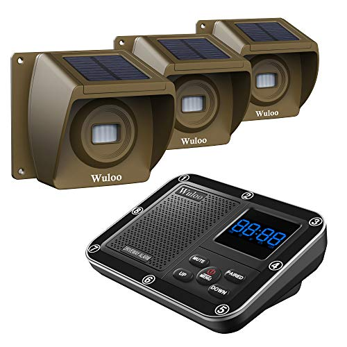 Solar Driveway Alarm Wireless Outside 1800ft Range, Outdoor Motion Sensor & Detector Driveway Alert System with Rechargeable Battery/Weatherproof/Mute Mode(1&3-Brown)
