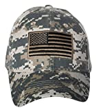 United States Flag Digital Camo Embroidered Baseball Cap (Army Green)