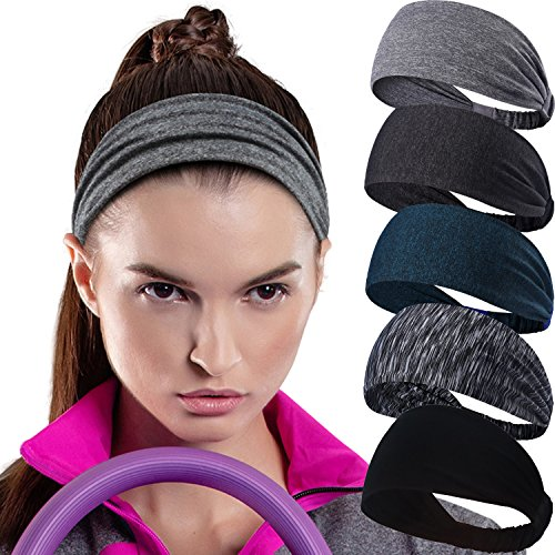 Calbeing Headband for Womens Workout Sweatband Headscarf Stretchy Soft Sports Fitness Multi Lightweight Bandana Elastic Exercise Tennis Running Gym Yoga Dance Set of 5