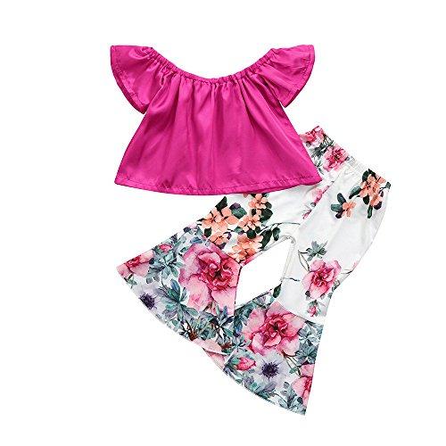 HWTOP Kinderkleidung Kleinkind Baby Kinder Mädchen Einfarbig Schulterfrei T-ShirtsOberteile + Ausgestellte Hosen Blumenhosen Trousers Outfits Set, Pink, 2-3 Jahre