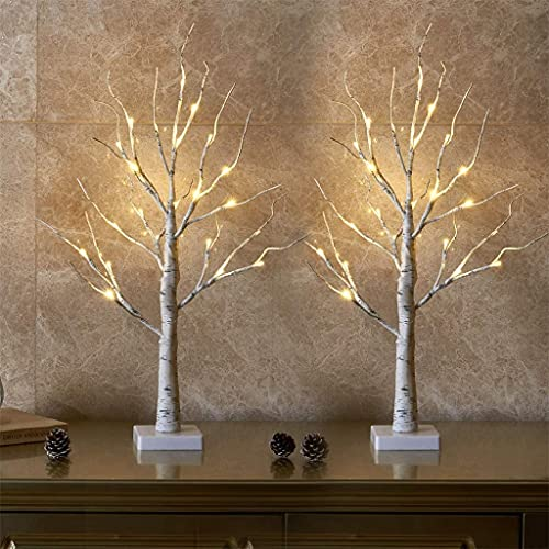 Set of 2- EAMBRITE 2FT 24LT Warm White LED Birch Tree Light with Timer Tabletop Bonsai Tree Light Jewelry Holder Decor for Home Party Wedding Holiday