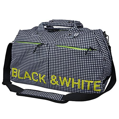 ボストンバッグ メンズ レディース ブラック&ホワイト ホワイトライン Black&White WHITE Line ゴルフ buf7231w F(F) チェック柄(12)