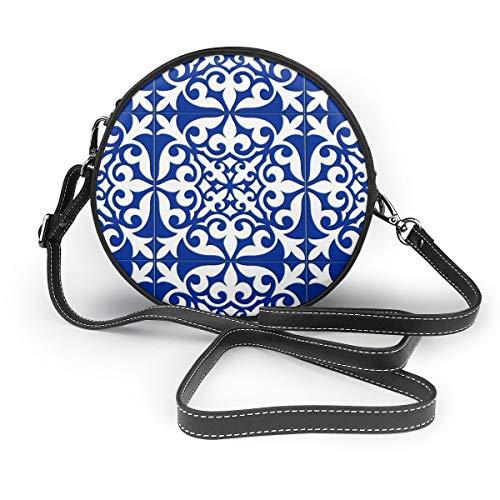 Marokkaanse tegel - kobalt blauwe vrouwen PU lederen rits ronde Crossbody schoudertas Tote handtas tas voor werk reizen dateren gepersonaliseerd
