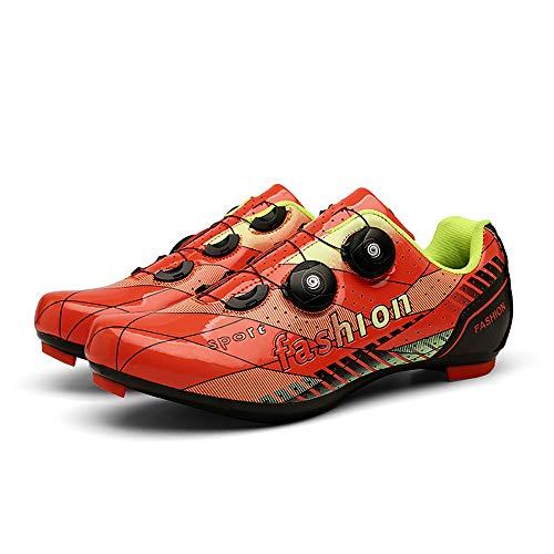 JQKA Zapatos de ciclismo para hombre y mujer, con hebilla giratoria, transpirable, compatible con SPD para interior (tamaño: 43, color: naranja)
