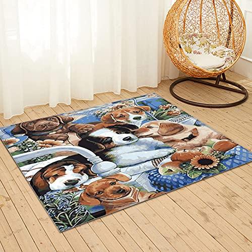 Large Puzzle Alfombra de piel de conejo de imitación natural ultra suave, alfombra mullida de lujo para sala de estar, dormitorio, cama