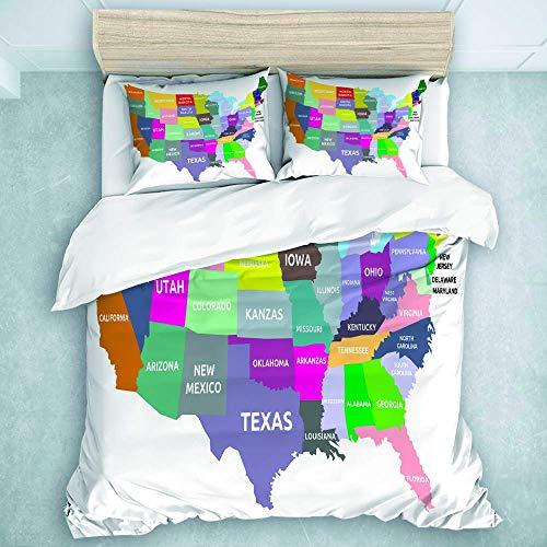 Juego de Funda nórdica, Mapa de EE. UU. con Nombre de los Estados de América, Tema de cartografía de geografía, Juego de edredón para Todas Las Estaciones, Manta de 3 Piezas