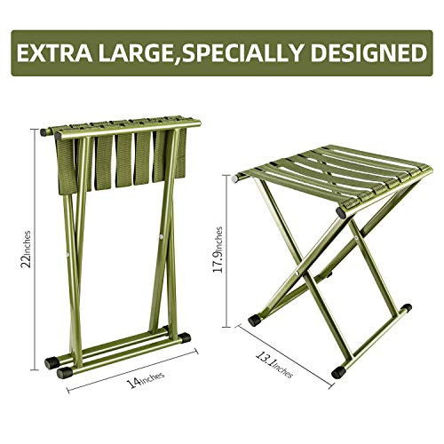 E-jades Folding Stool Camp Stools 2Pack 17.9 in Height, Hold up to 650lbs, Heavy Duty Camping Chair, Outdoor Portable Stools for Camp,Beach,Sports,Fishing,Hunting,Sitting, Tall Large Seat