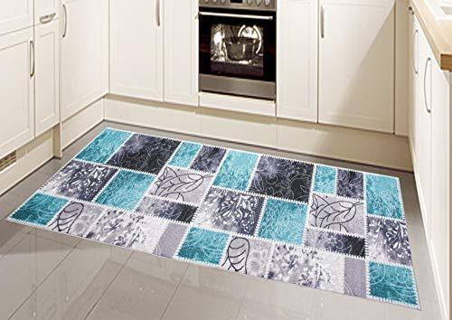 CARPETIA Küchenteppich Küchenläufer Patchwork waschbar türkis Größe 80 x 300 cm